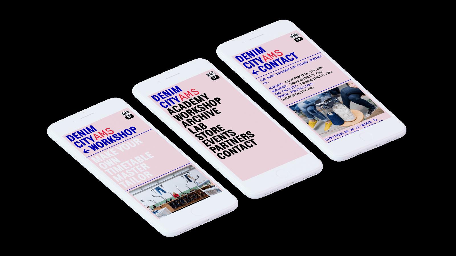 Mobile version of the Denim City platform